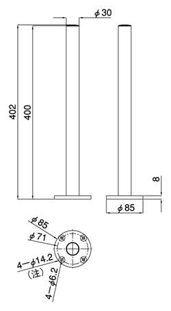 ネジ固定支柱LA-501A(図面)