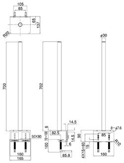 クランプ固定支柱LA-501B(図面)